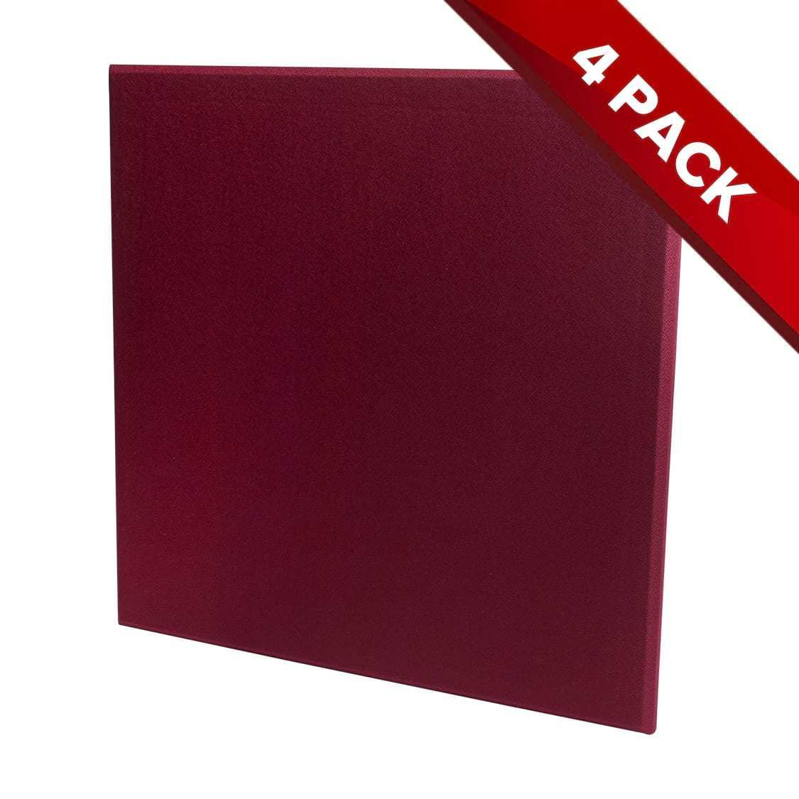 4x Fibreglass Acoustic Treatment Panel - Wine Red - 60cm by 60cm