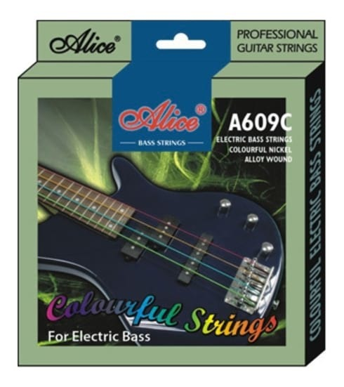 Alice Multi-Coloured Electric Bass Guitar Strings 40-95