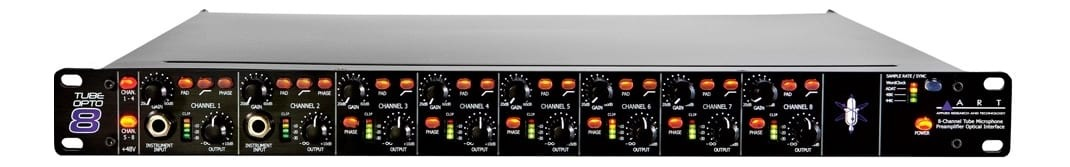 ART TubeOpto8 8-Channel Tube Preamp Rack Unit - 19 inch
