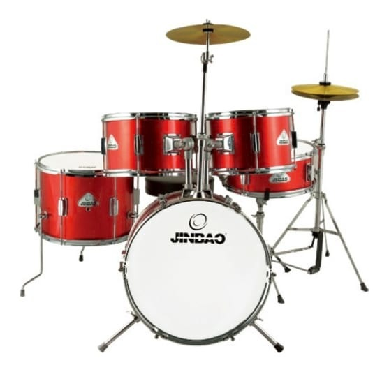 Wine Red Kids Drum Kit - 5-Piece w/ Cymbals, Hardware and Stool