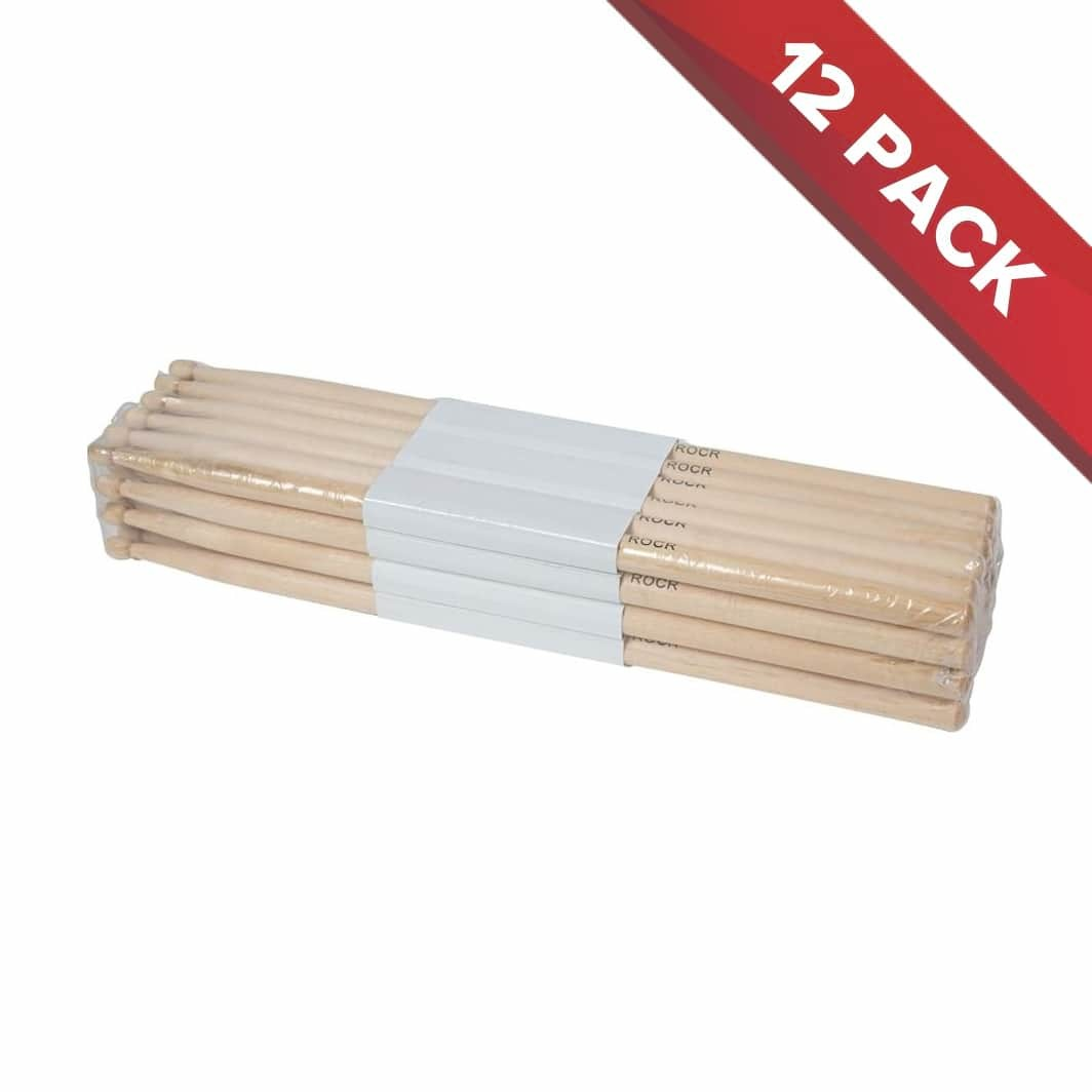 SWAMP ROCK Maple Drum Sticks with Wooden Tip - 12 Pack