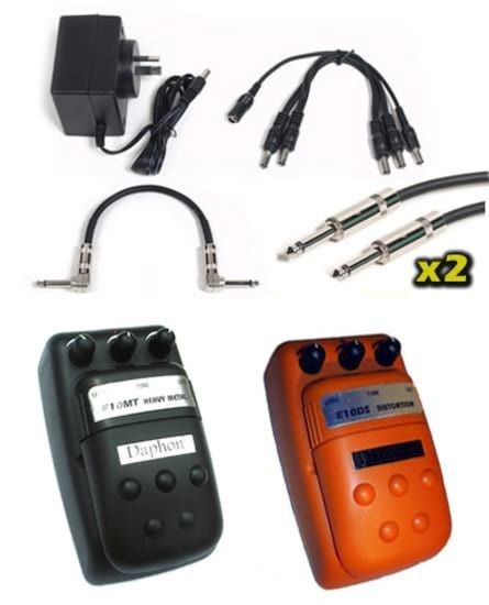 Effects Pedal Pack - Heavy Metal + Distortion + 9v + Cables