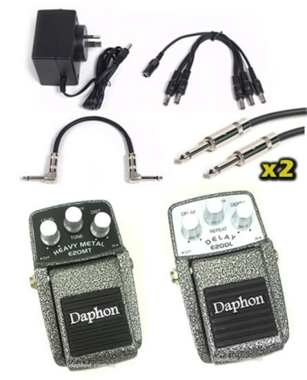 Effects Pedal Pack - Heavy Metal + Delay + 9v + Cables
