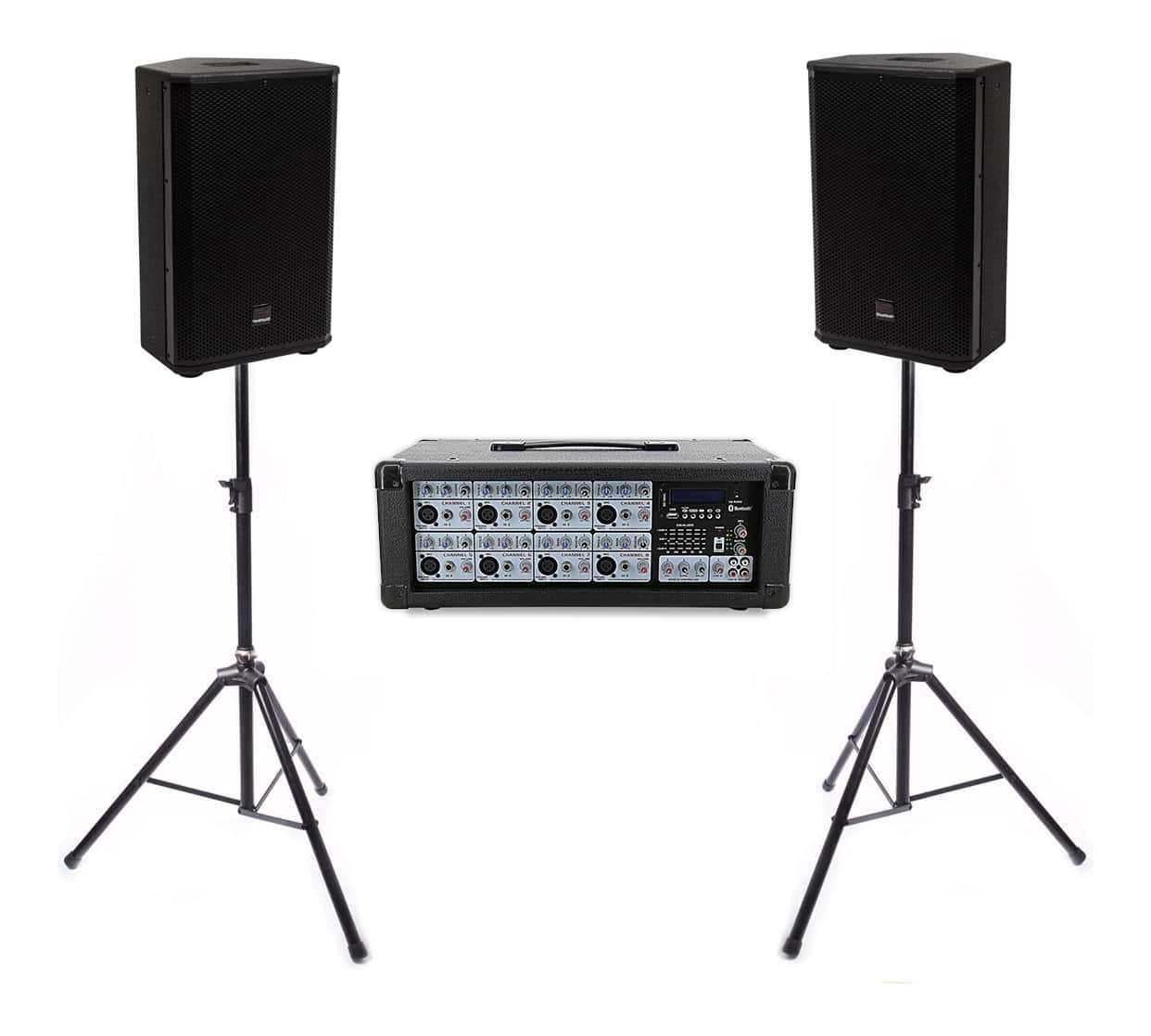 "Live PA Value Package - Powered Mixer + 12"" Speakers and Stands"