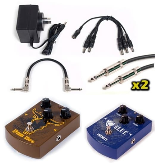 Effects Pedal Pack - Muff Fuzz + Overdrive + 9v + Cables