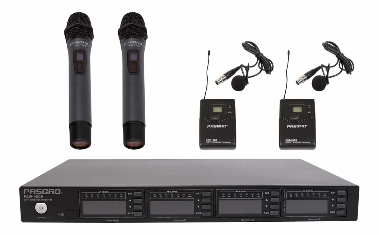 PASGAO PAW-4000 4 Channel Wireless Microphone System - 2 Bodypack, 2 Handheld