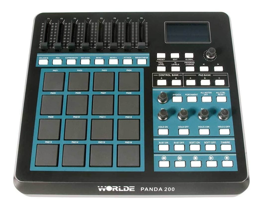 16 pad midi drum machine controller 8 assignable faders pads playback control ebay. Black Bedroom Furniture Sets. Home Design Ideas