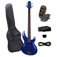 Artist Electric Bass Guitar + Accessories - Neon Blue - Active Pickups