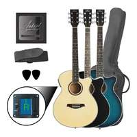 Mini-Jumbo Steel String Acoustic Guitar - Tuner - Small Body