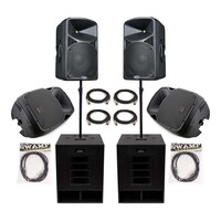 SWAMP Powered PA System - 2x Subs + 2x FOH + 2x Monitors - 1960W