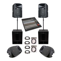 SWAMP Powered PA System - 2x Subs + 2x FOH + 2x Monitors + 16CH Mixer - 1960W