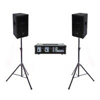 "Live PA Value Package - Powered Mixer + 10"" Speakers + Stands"