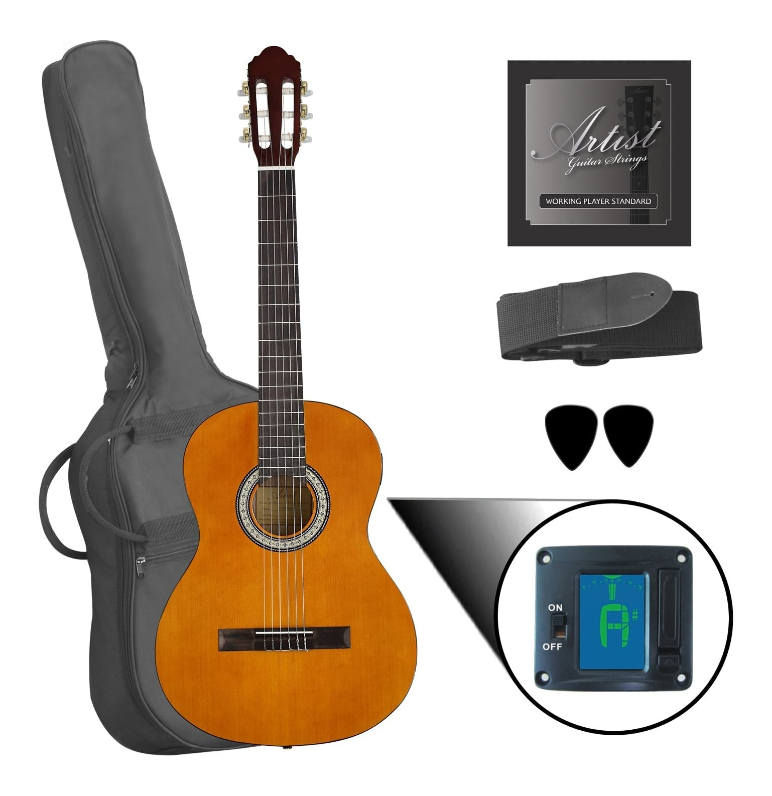Left Handed 4/4 Full Size Classical Nylon String Acoustic Guitar