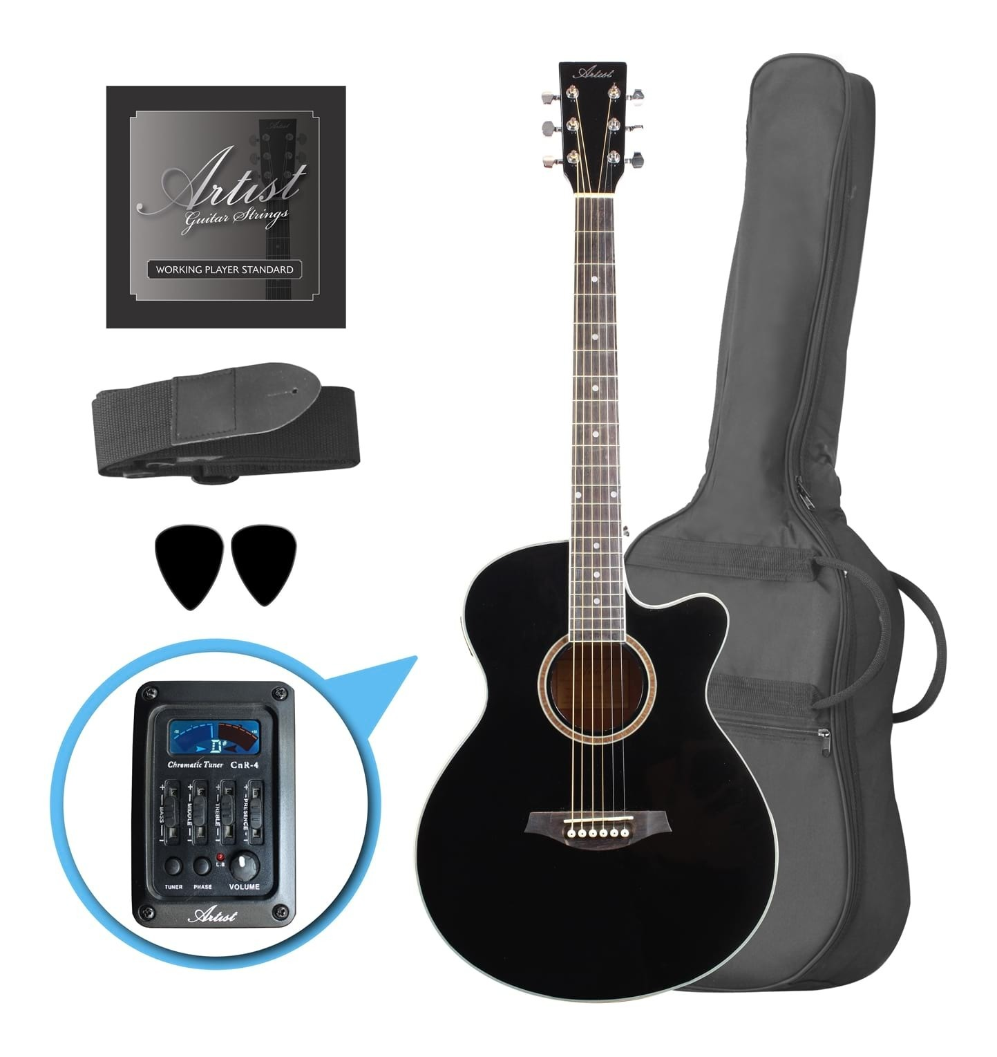 Steel String Acoustic Guitar - Pickup & Tuner - Small Body - Black