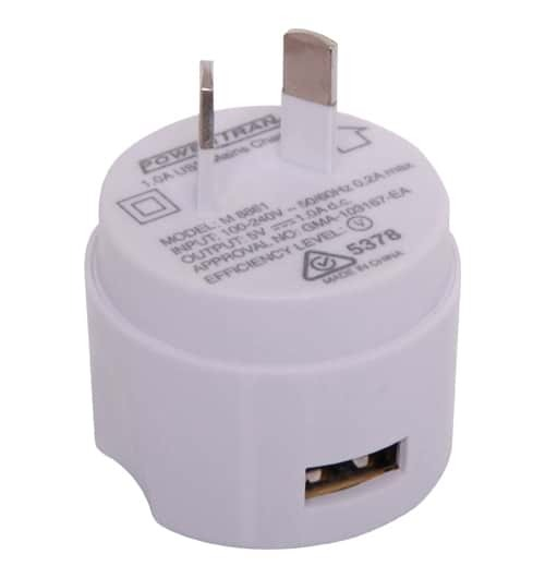 Single Output 1A USB Charger 100-240V