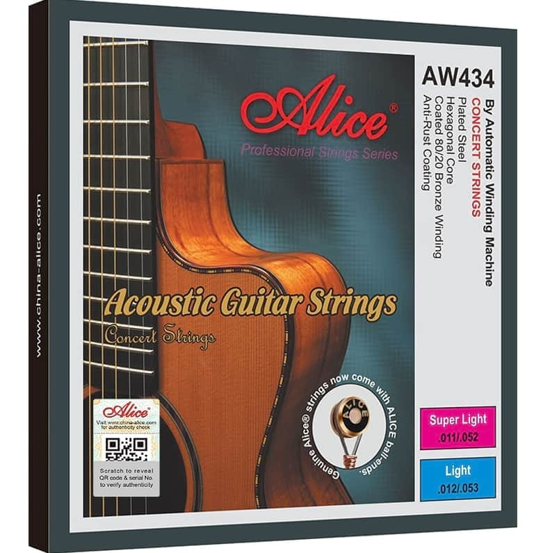 Alice AW434 80/20 Bronze Acoustic Guitar String Set Super Light 11-52