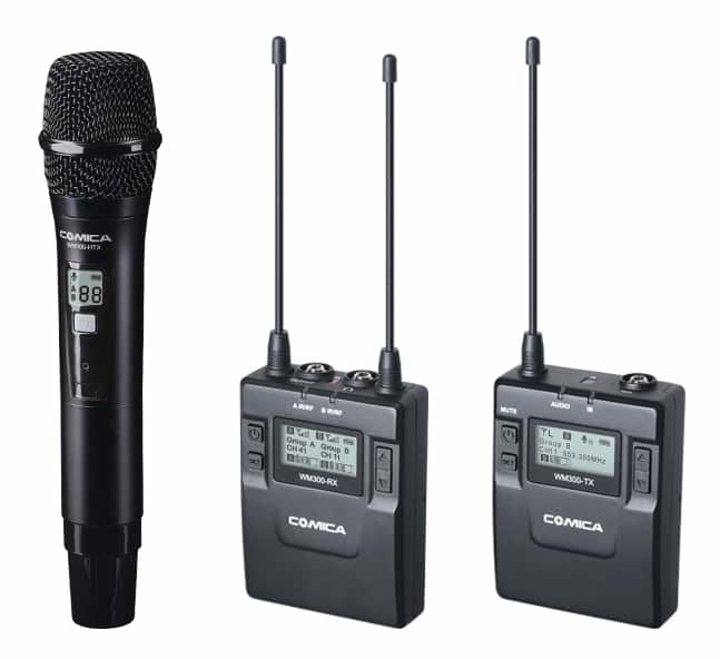 COMICA CVM-WM300 Portable Dual Wireless Microphone System - Handheld, Lavalier