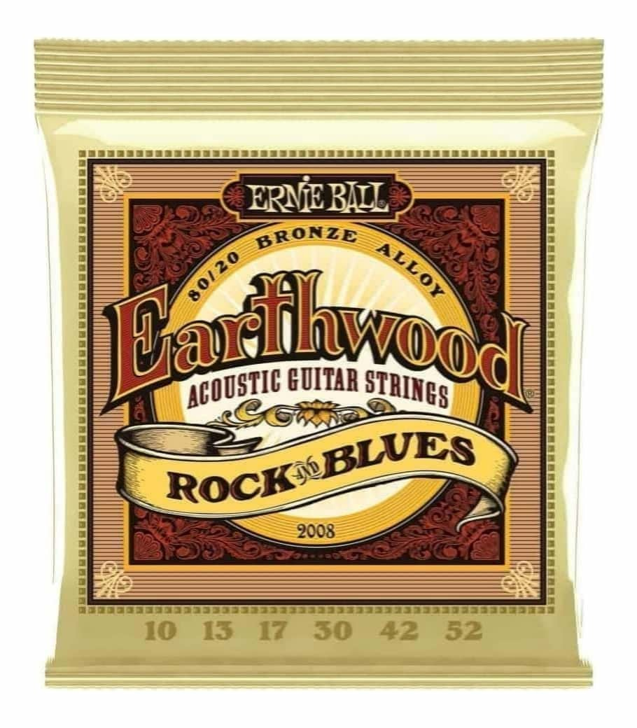 Ernie Ball 2008 Earthwood Rock and Blues 80/20 Bronze Acoustic Guitar Strings 10 - 52