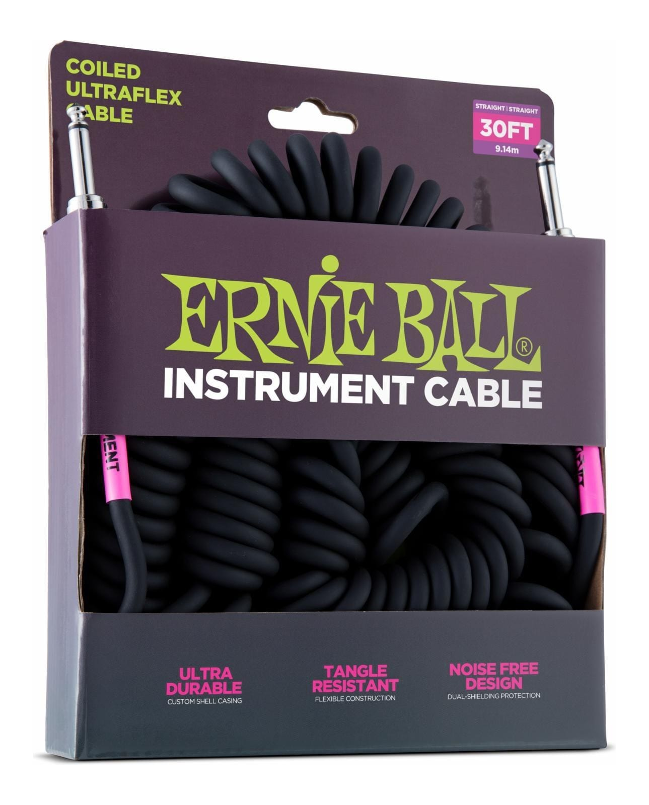 Ernie Ball Instrument Cable - Coiled Straight / Straight - 10m
