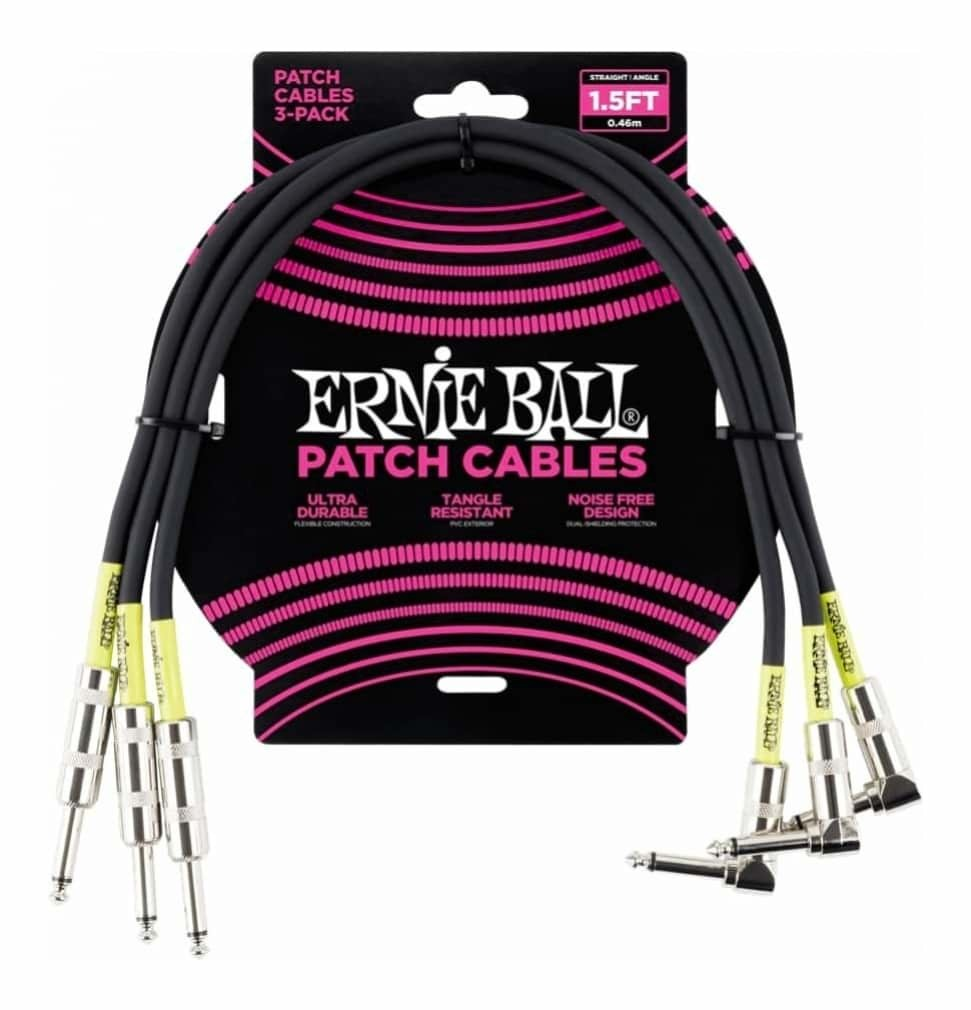 Ernie Ball 6076 1.5' Straight / Angle Patch Cable 3-Pack Black