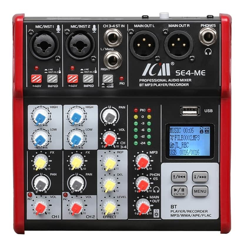 ICM SE-4-ME Professional Audio Mixer with BT and USB Recorder