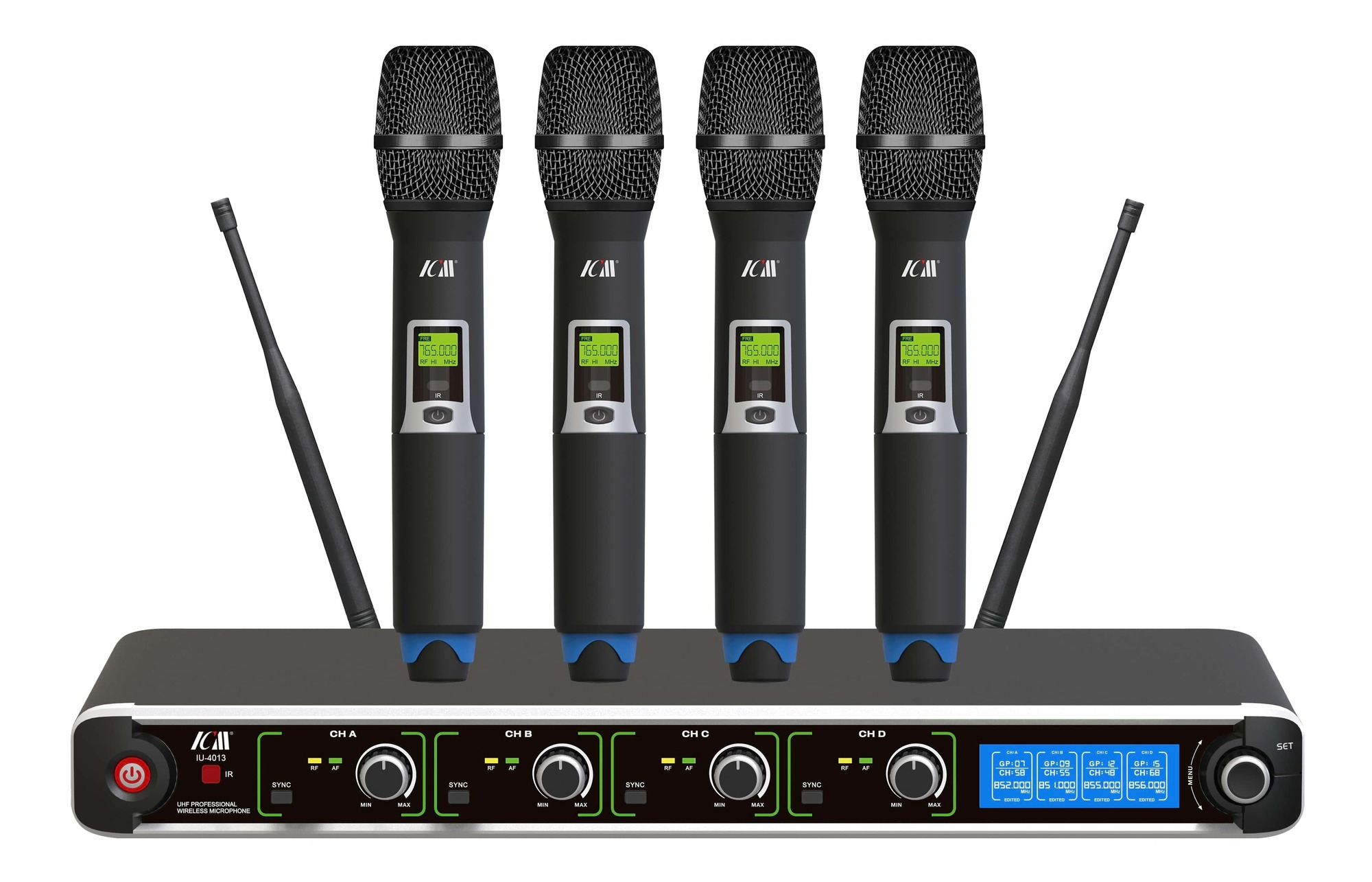 ICM IU-4013 Four Channel Wireless Microphone System - 4 Handheld Mics
