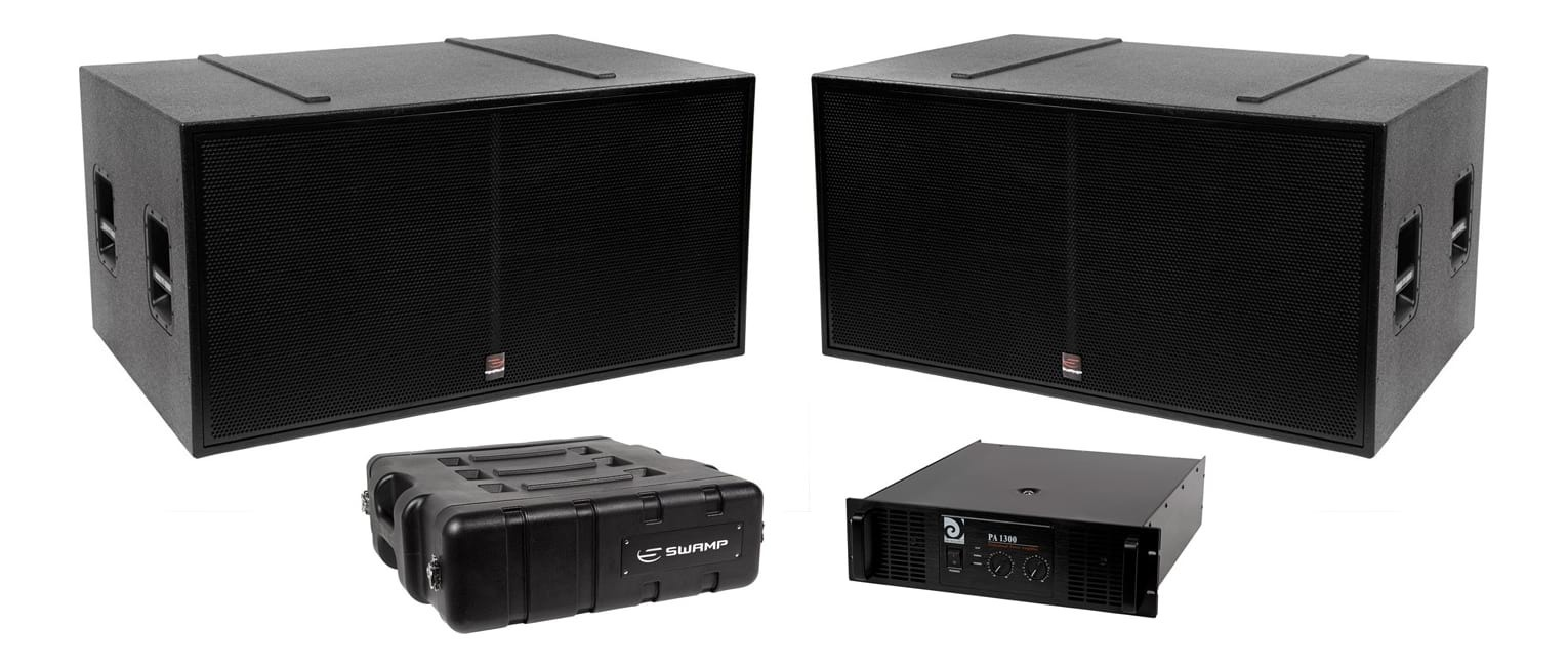 "SWAMP Passive PA System Subwoofer Pack - 2x Dual 18"" Subs + Power Amp - 2600W"