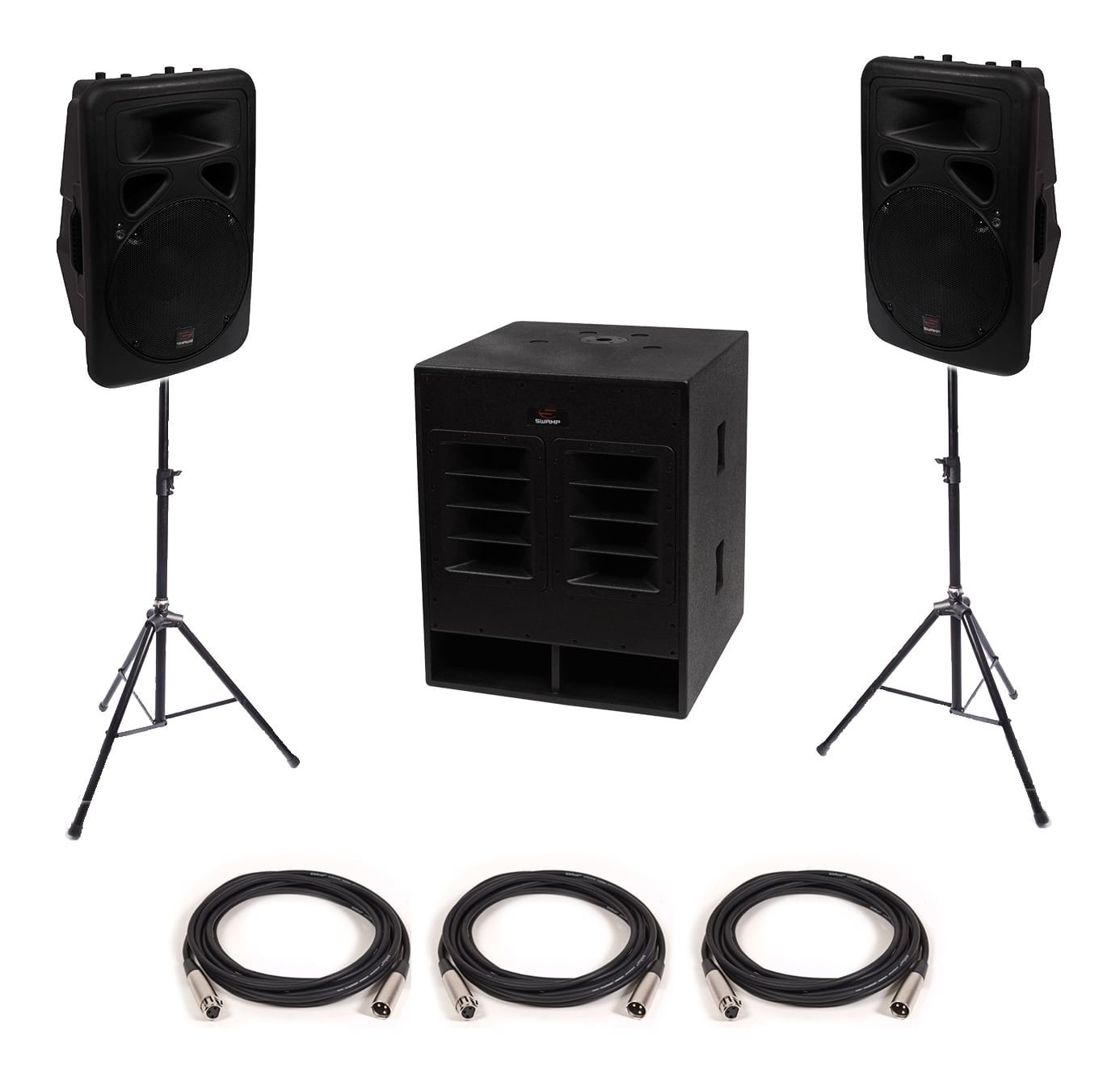 "SWAMP Small-Medium Powered PA - 18"" Subwoofer + 2x 12"" FOH Speakers"