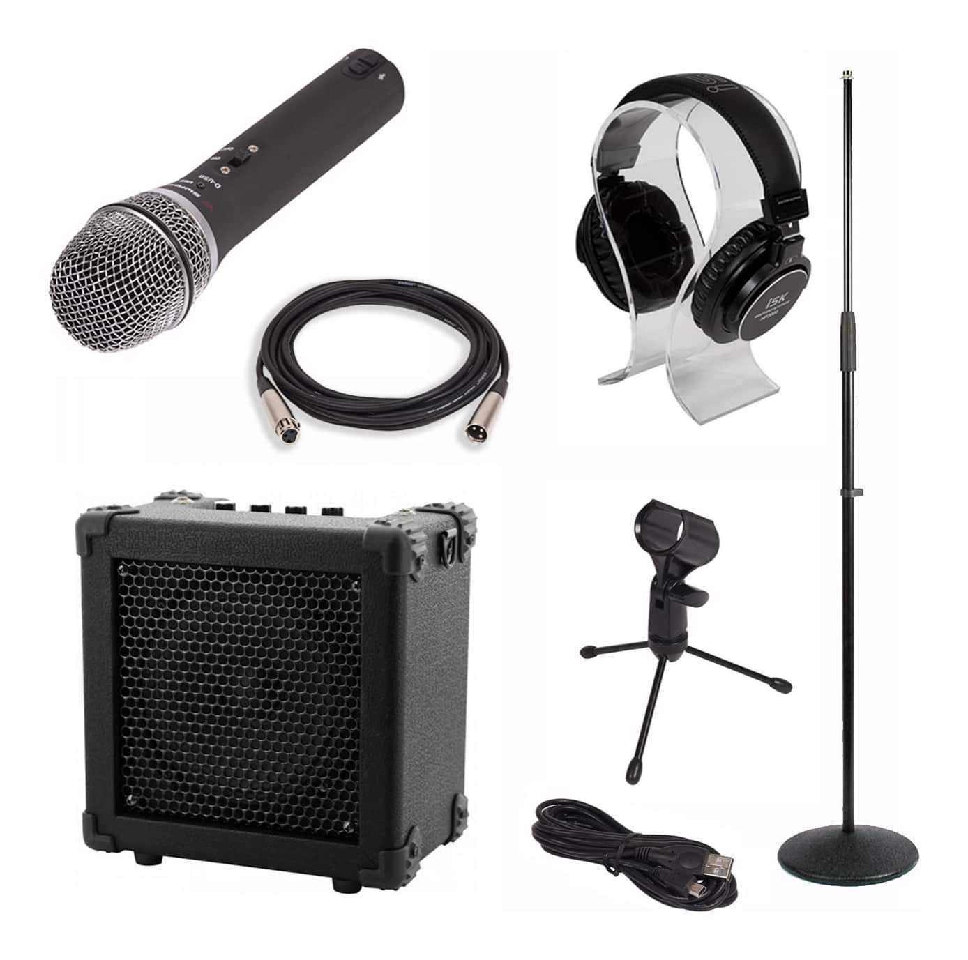 Vocalist Pack - D-USB Microphone + Mic Stand + iSK HP-3000 Headphone + Amplifier