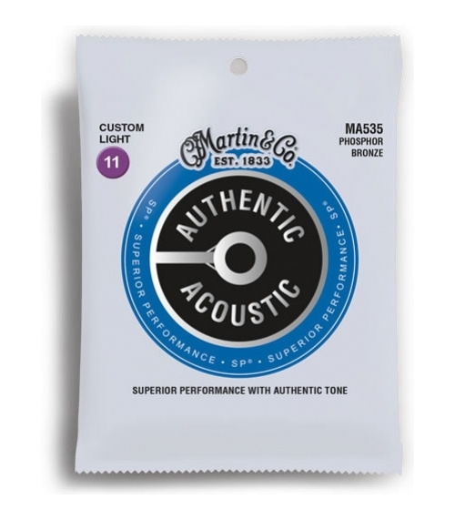 Martin MA535 SP Phosphor Bronze Authentic Acoustic Guitar Strings Light 11-52