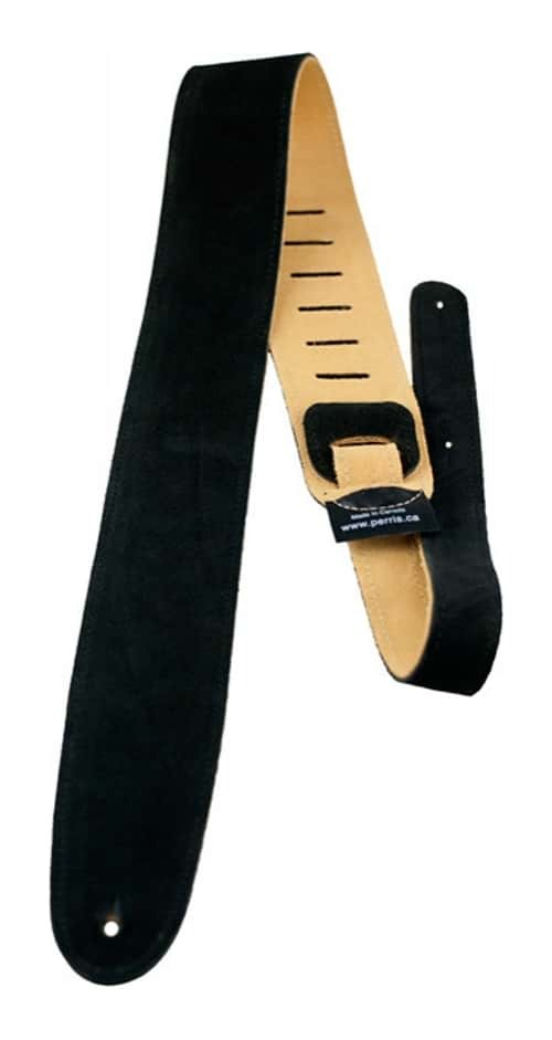 "Perri's 2.5"" Soft Suede Guitar Strap with Premium Backing - Black"