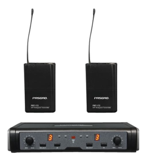 PASGAO PAW-266 Wireless Microphone System - 2 Bodypacks and Lapel Mics