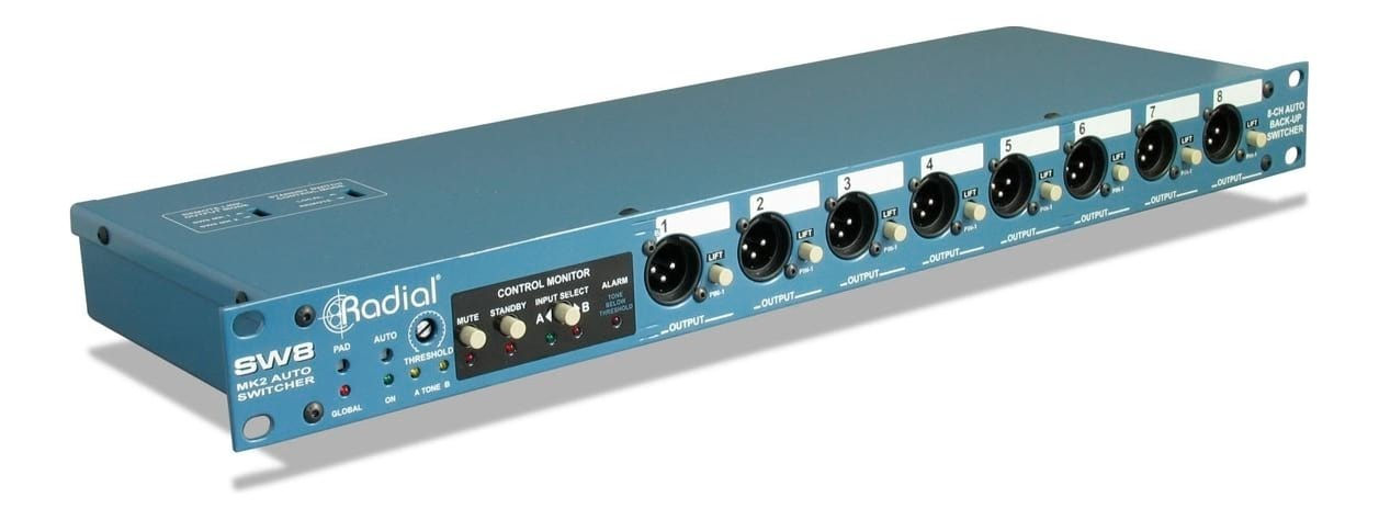 RADIAL SW8 MK2 8 Channel Auto Switcher for Redundant Backup Audio Systems