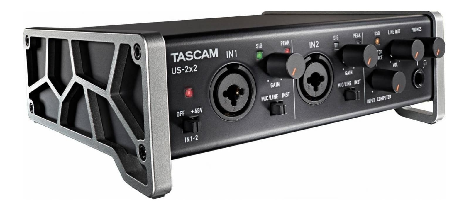 TASCAM US-2X2 2-in 2-out Audio MIDI Interface for Mac, Windows, iOS iPad USB 2.0