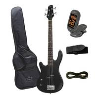Artist PB34BKL Black 3/4 Size Left Hand Bass Guitar + Accessories