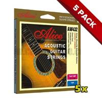 5x Alice Acoustic Guitar Strings 11-52