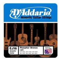 D'Addario EJ16 Phosphor Bronze Acoustic Steel Guitar Strings 12-53