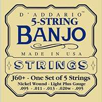 D'Addario J60+ 5-String Banjo Strings - Light Plus Gauge - 9.5-20