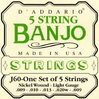 D'Addario J60 5-String Banjo Strings - Light Gauge - 9-20