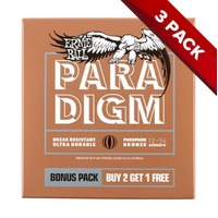 Ernie Ball PARADIGM Med Light Bronze Acoustic Guitar Strings - 12-54 - 3 Pack