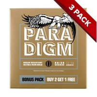 Ernie Ball PARADIGM Light 80/20 Bronze Acoustic Guitar Strings - 12-54 - 3 Pack