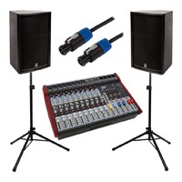 "Live PA Small Band Package - Powered Mixer + 12"" Speakers + Stands"