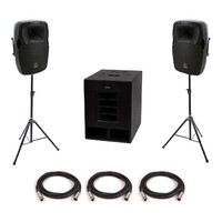 "SWAMP Small Powered PA - 15"" Subwoofer + 2x 10"" FOH Speakers"