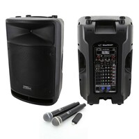 "SWAMP MS-5384 Dual 15"" Speaker PA Package - 8CH Mixer, Wireless Mics"