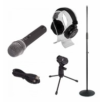 Vocalist Pack - D-USB Microphone + Round Base Mic Stand + iSK HP-3000 Headphones