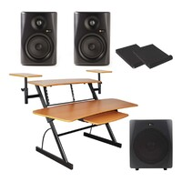"Studio Package - WS-03 Desk and Monkey Banana 5"" Studio Monitors, 10"" Sub"