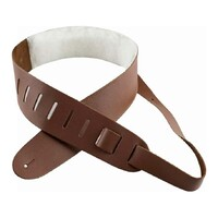 "Perri's 2.5"" Leather Guitar Strap with Sheep Skin Padding - Light Brown"