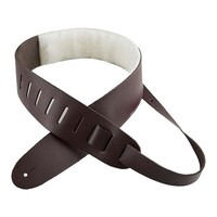 "Perri's 2.5"" Leather Guitar Strap with Sheep Skin Padding - Dark Brown"